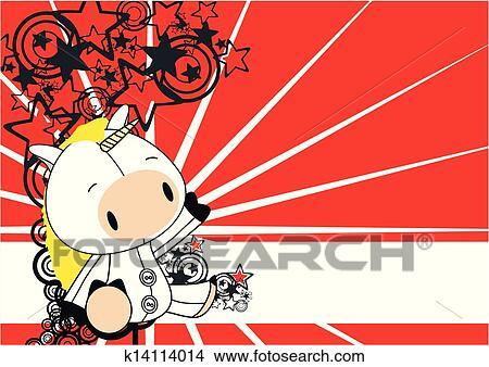 Clipart Licorne Bebe Mignon Dessin Anime Fond K14114014