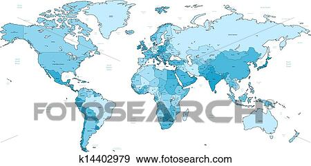 Clip Art Of Light Blue Detailed World Map K14402979 Search Clipart