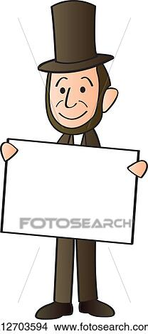 Clipart Of Lincoln Holding Sign K12703594 Search Clip Art
