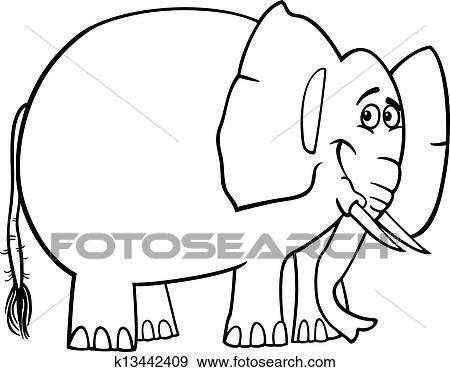Clip Art - lindo, elefante, caricatura, para, libro colorear ...