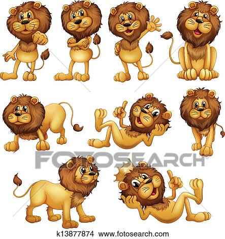 clipart of lions in different positions k13877874 search clip art rh fotosearch com clipart aliens clip art link