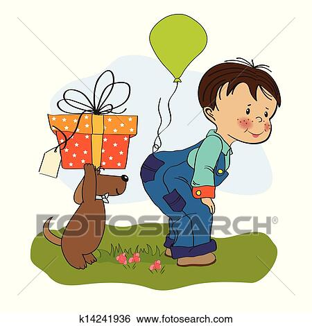 Clip Art Of Little Boy And His Dog Birthday Card K14241936 Search