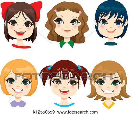 Clip Art Of Little Girl Hairstyles K12550559 Search Clipart