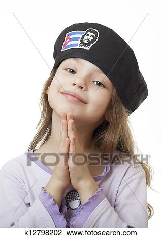cdc4fff76d8 Stock Photo of little girl in the Cuban beret k12798202 - Search ...