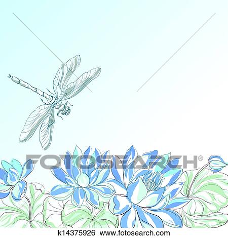 Lotus Flower And Dragonfly Stock Illustration K14375926