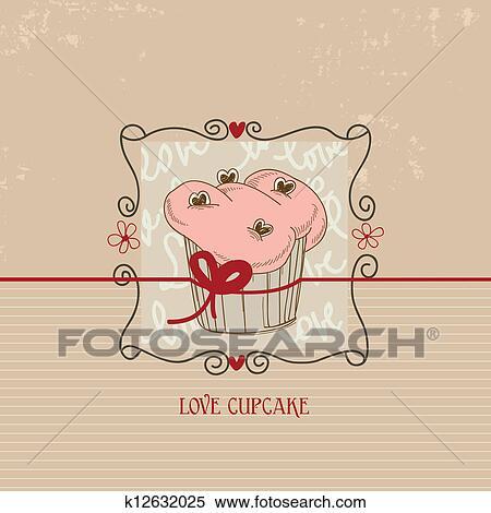 Clipart Of Love Cupcake Valentine Day Cute Card K12632025 Search