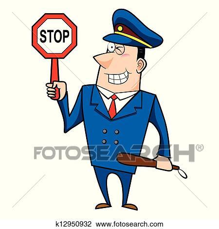 Clipart m le dessin anim gendarme k12950932 - Gendarme dessin ...