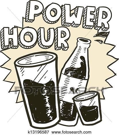 Clip Art Macht Stunde Alkohol Skizze K13196587 Suche Clipart