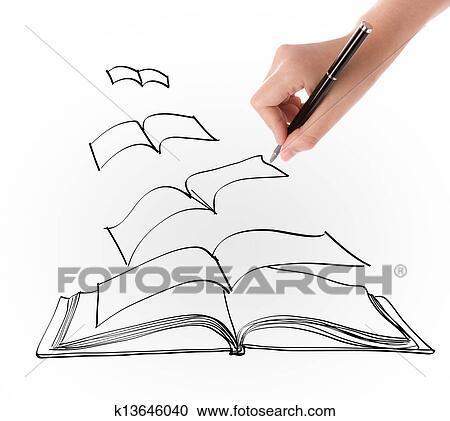Main Dessin Ouvert Voler Livre Clipart