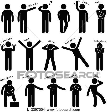 dbe52ce8 Mand, folk, holdningen, krop sprog Clipart | k13397004 | Fotosearch
