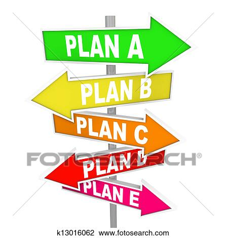 many plans rethinking strategy plan a b c signs clip art