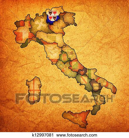 Clipart Of Map Of Italy With South Tyrol Region K12997081 Search