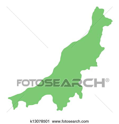 Clipart Of Map Of Niigata Prefecture K13078501 Search Clip Art