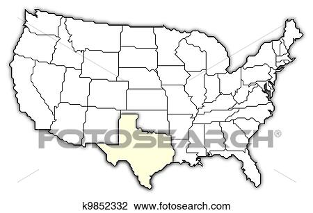 Stock Photo of Map of the United States, Texas highlighted k9852332 ...