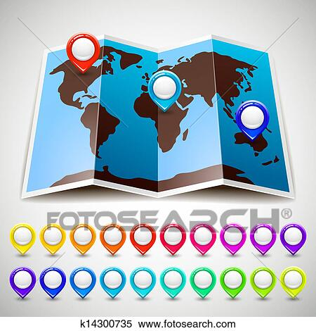 map world with colorful pin pointers location clipart k14300735 fotosearch fotosearch