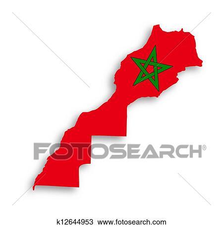 Cartina Marocco Da Colorare.Marocco Mappa Con Il Bandiera Dentro Disegno K12644953 Fotosearch