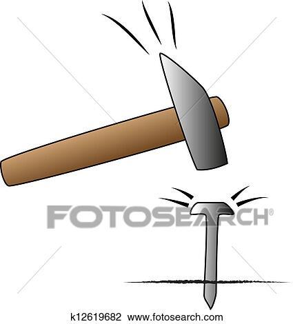 Clipart marteau clou k12619682 recherchez des clip - Dessin de marteau ...
