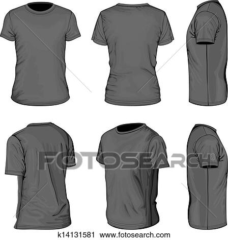 Clipart of Men\'s black short sleeve t-shirt design templates ...