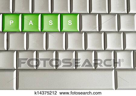 Stock Photo Of Metallic Keyboard With The Word PASS K14375212