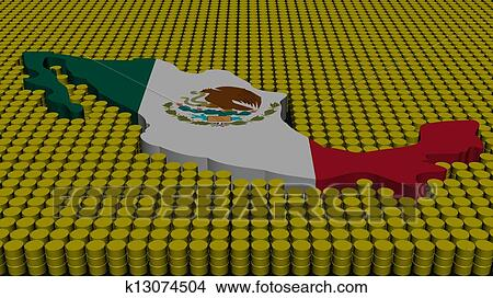 Drawings Of Mexico Map Flag With Oil Barrels Illustration K13074504