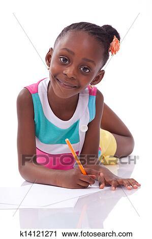 Mignon Noir Américain Africain Petite Fille Dessin Isolé Blanc Fond Africaine Gens Enfants Banque Dimage