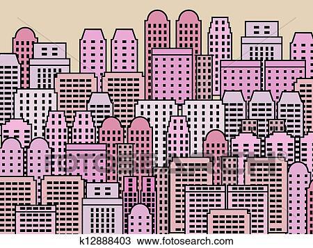 Clipart Of Modern City K12888403