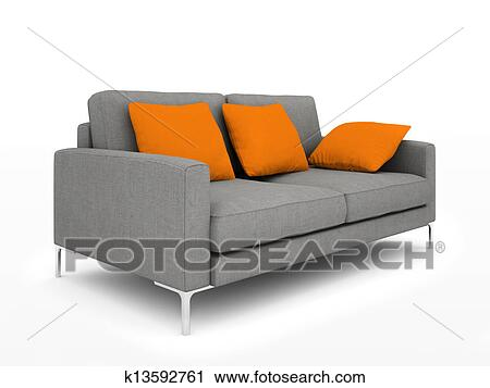 Modern grey sofa with orange pillows isolated on white background  illustration Clip Art