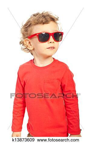 0ada5a6dbe73 Modern kid boy with sunglasses Stock Photo   k13873609   Fotosearch