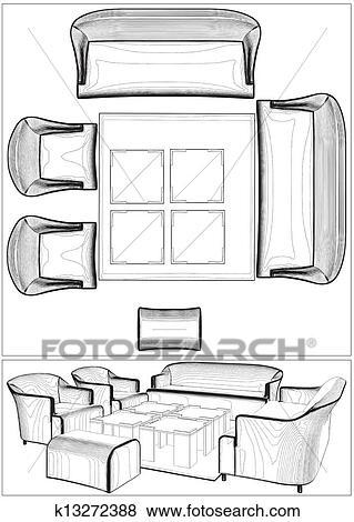 Modern Living Room Furniture Clip Art K13272388 Fotosearch