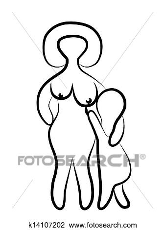 Clip Art Of Mother And Child K14107202