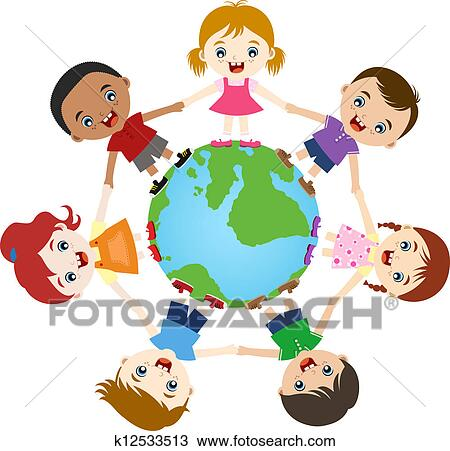 Drawing Of Multicultural Children Hand In Hand K12533513 Search