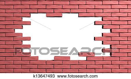 Mur Brique Cadre A Trou Dessin K13647493 Fotosearch