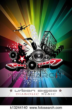Clipart Of Music Event Background With Crazy Dj Shape For Disco