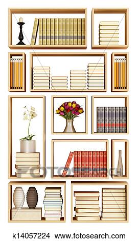 Tekeningen - muur, boekenkast, geïsoleerde, op wit k14057224 - Zoek ...