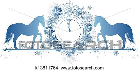clipart new year border with horses and clock fotosearch search clip art