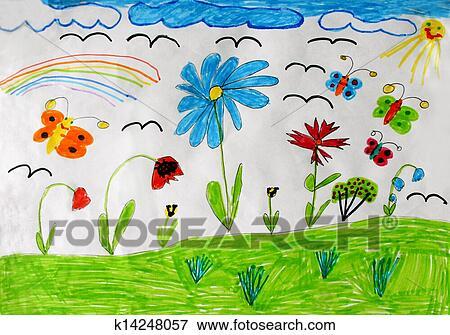 Colección De Ilustraciones Niños Dibujo Con Mariposas Y