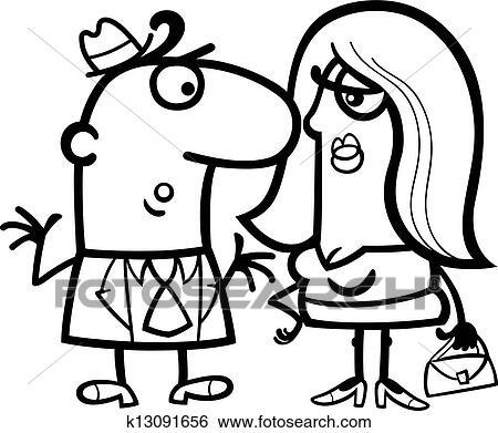 Clipart Noir Blanc Rigolote Couple Dessin Anime K13091656