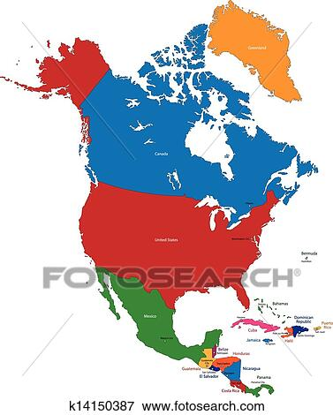 Clip Art of North America map k14150387 - Search Clipart ...
