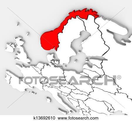 Carte Europe Norvege.Norvege Resume 3d Carte Europe Pays Continent Clipart