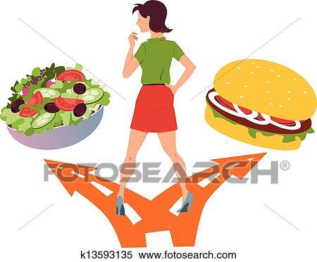 Nourriture Saine Ou Restauration Rapide Clipart K13593135 Fotosearch