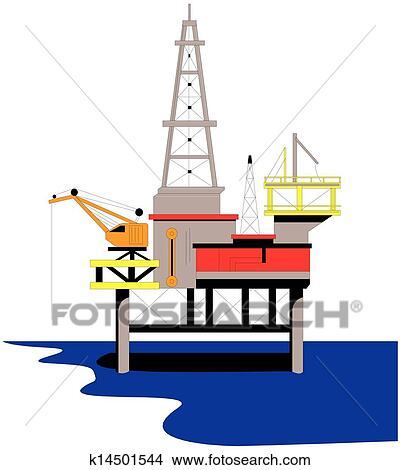 clipart of oil rig drilling platform k14501544 search clip art rh fotosearch com oil drilling rig clipart oil rig clipart free