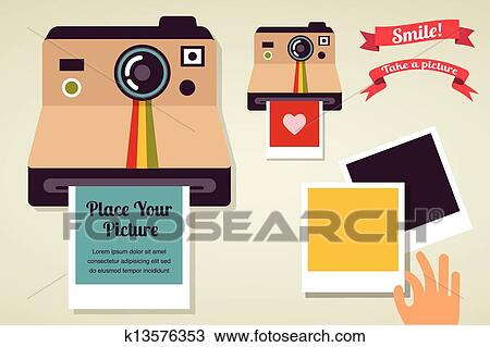 Clipart Of Old Vintage Polaroid Camera With Picture K13576353