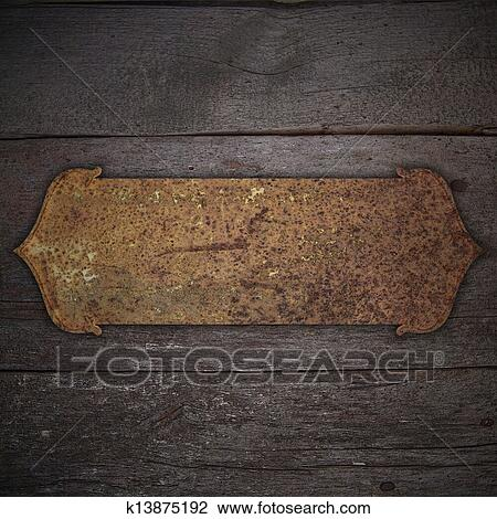 Clip Art of Old wood background with rusty metal plate. Design ...