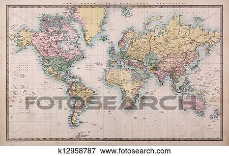 Search World Map.Picture Of Old World Map On Mercators Projection K12958787 Search