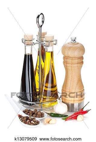 Olive Oil Vinegar Bottles Pepper Shaker And Es Isolated On White Background