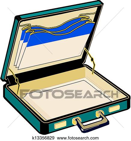 clip art of open case vector k13356829 search clipart rh fotosearch com open suitcase images clipart Suitcase with Clothes