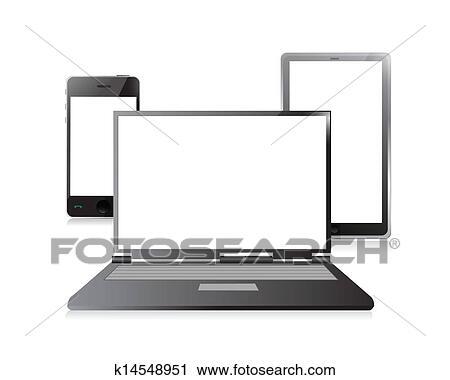 clipart ordinateur portable t l phone portable et tablette num rique pc k14548951. Black Bedroom Furniture Sets. Home Design Ideas