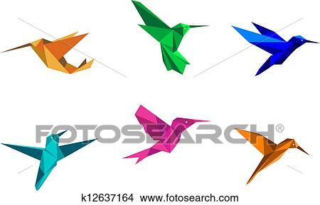 clipart of origami hummingbirds k12637164 search clip art rh fotosearch com origami owl clip art origami flower clip art