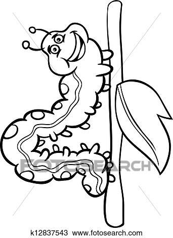 Clipart - oruga, insecto, caricatura, para, libro colorear k12837543 ...