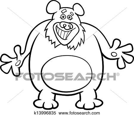 Clipart - oso, caricatura, ilustración, para, libro colorear ...